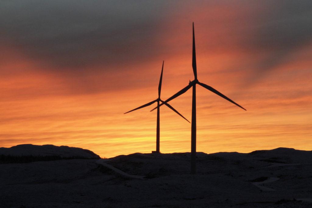 Carraig Gheal Wind Farm sunset two turbines