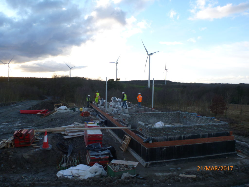 Drumduff Wind farm construction - Control/Substation building on 21st March