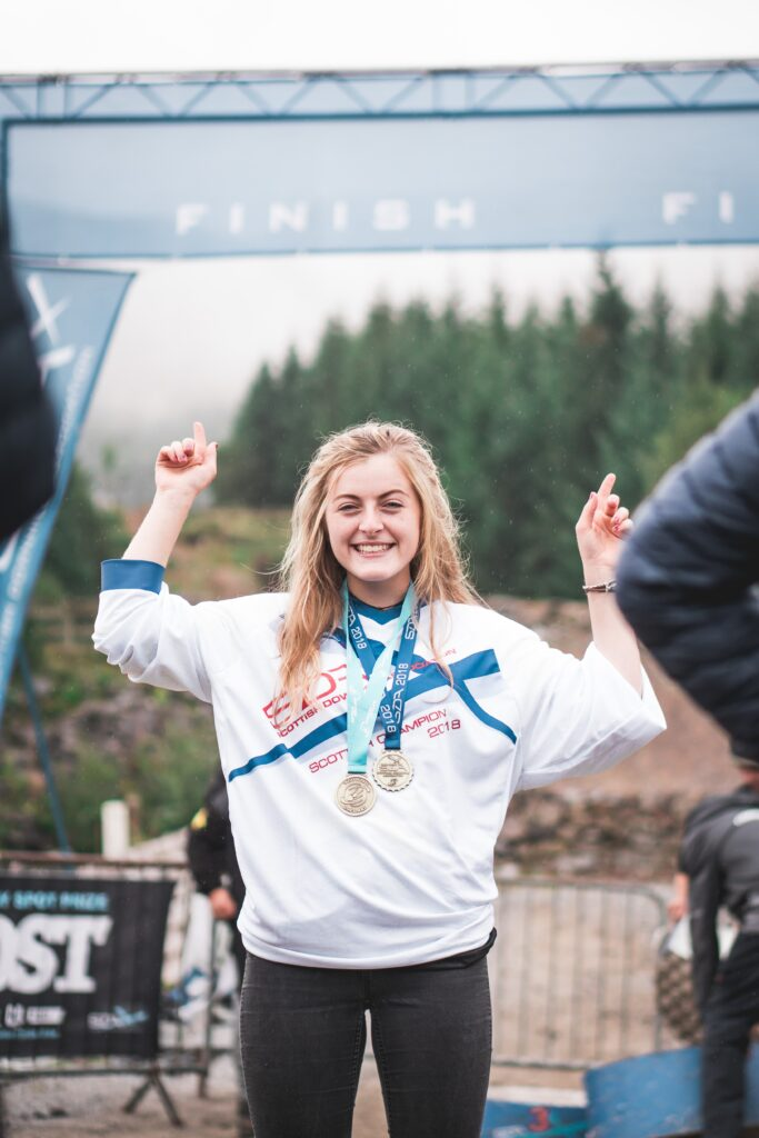 Mikayla Parton, our GreenPower Sponsored World Cup Mountain Bike rider recognised at this years Fort William Mountain Festival 2021.
